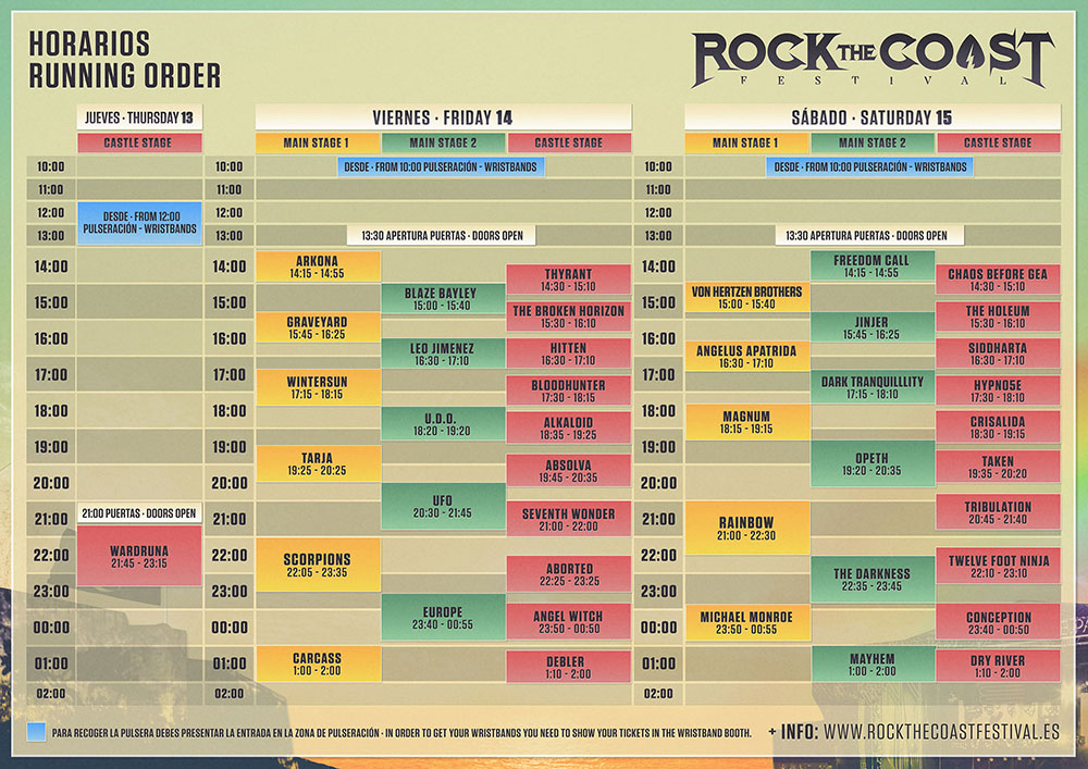 rock the coast horarios