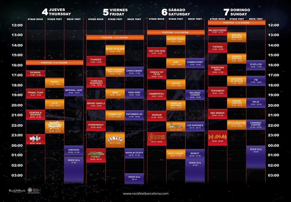 rock fest barcelona 2019 - horarios
